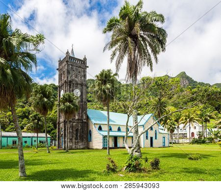 Sacred Heart Roman Catholic Church With A Clock Tower. Colourful Vibrant Old Colonial Capital Of Fij