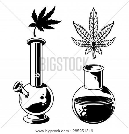 Set Cannabis elements devices for smoking marijuana leaves of weed hemp bong and flask with hemp extract. Vintage drawing of natural cannabis Illustration for poster sticker patch logo print t shirt. poster