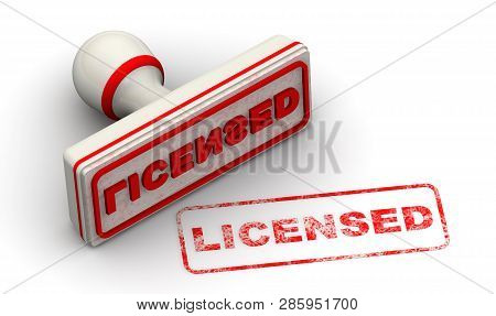 Licensed. Red Stamp And Imprint Licensed On White Surface. Isolated. 3d Illustration
