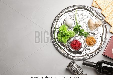Flat Lay Composition With Symbolic Passover (pesach) Items On Color Background, Space For Text