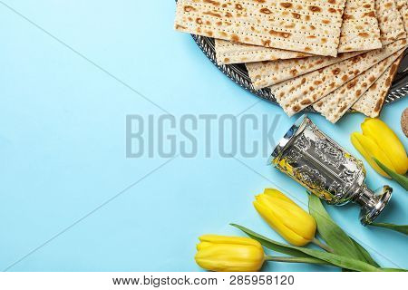 Flat Lay Composition With Matzo And Space For Text On Color Background. Passover (pesach) Seder