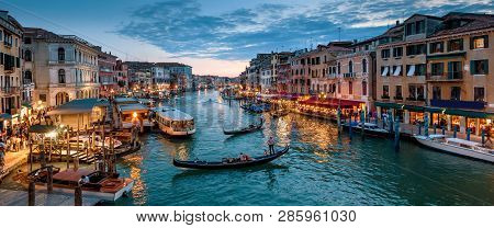 Panorama Of Venice At Night, Italy. Beautiful Cityscape Of Venice In Evening. Panoramic View Of Gran