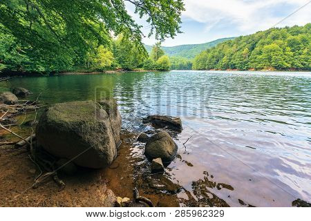 Summer In Slovakian Vihorlat Region. Beautiful Scenery Among The Primeval Beech Forest. Rocks On The