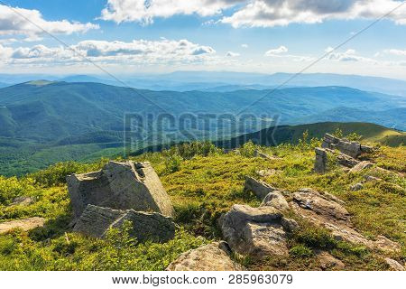 Stones On Grassy Alpine Meadow. Beautiful Summer Landscape In Mountains. Wonderful Sunny Weather. Fl