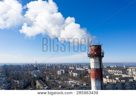 Air Pollution, Factory Pipes, Smoke From Chimneys On Sky Background. Concept Of Industry, Ecology, S