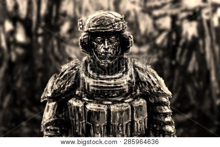 Space Trooper In Suit. Science Fiction Genre. Front View.