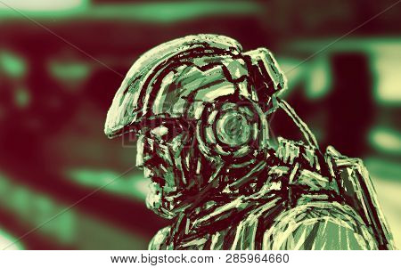 Space Infantry Walks With A Heavy Rifle. Science Fiction Character Soldier. Side View.