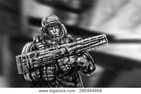 Soldier Of Future. Front View. Science Fiction Genre.