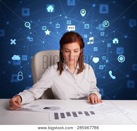 Secretary work with office and multitask concept