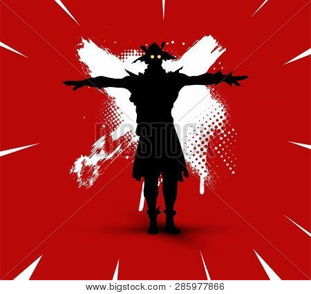 Fortnite Illustration. Battle Royale Concept. Scarecrow(skin) Silhouette On Bright Background With B