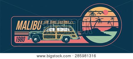 Old Vintage Car For Summer Surfing Traveling And Living On The Paradise California Beaches With Sun