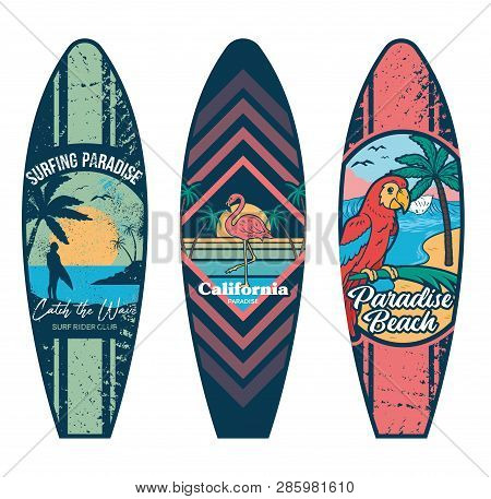 Set Surfboard Print Design For Surfing Ride Or Decor. Sport Vacation On Ocean Sea Holiday Vintage Hi