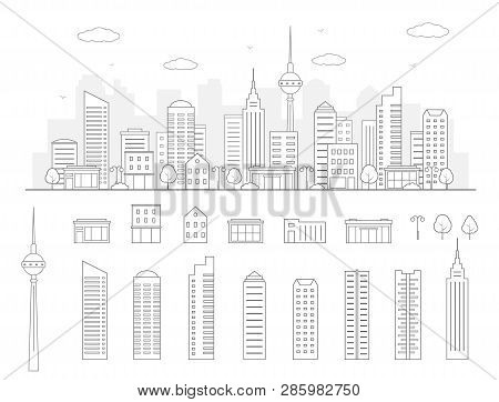 Modern Urban Landscape. City Life Illustration With House Facades And Other Urban Details. Line Art.