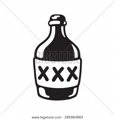Cartoon Bootle Of Moonshine With Xxx Label. Black And White Drawing Of Alcohol Bottle. Vector Illust