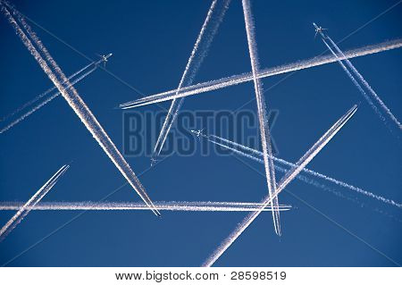 A Lot Of Airplanes Flying