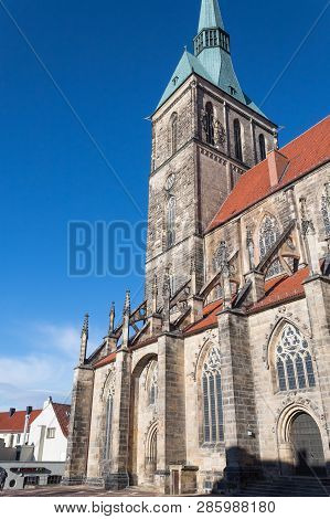 St. Andreas Church In Hildesheim Germany Sunny Clear Day