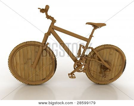3d wooden model of sporting bicycle