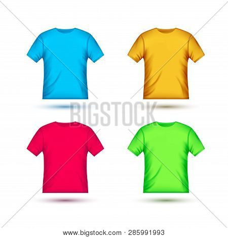 Blank T-shirt Template Clothing Fashion. Orange, Red, Green And Blue Shirt Design With Sleeve Cotton