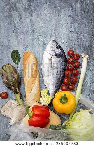 Food Ingredients With Dorade Fish - Top View