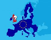 Brexit referendum UK concept - United Kingdom, Great Britain or England leaving EU with UK as a flag and EU stars on map of europe with big question mark on England - vector illustration poster
