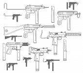 Graphic black and white detailed modern submachine guns with ammo clip. Isolated on white background. Vector icon set. poster