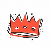 Vector cartoon crown diadem icon in comic style. Royalty crown illustration pictogram. King, princess royalty business splash effect concept. poster