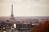 View of Paris and Eifel tower from 20th district poster