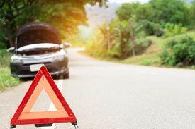 Car Broken Down On The Road With Emergency Help Sign. Car Break Down Trouble On Road, Traffic Warnin