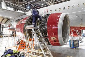 Aviation Industry, Mechanic Repairs Aircraft Engine Jet