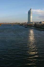 River Danube And Office Building