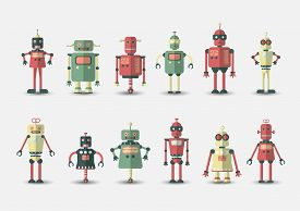 Retro Vintage Funny Vector Robot Set Icon In Flat Style Isolated On Grey Background. Vintage Illustr
