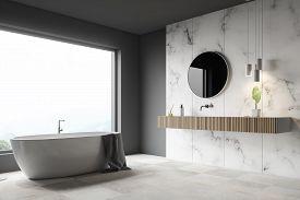 Gray And White Marble Bathroom Corner, Tub, Sink