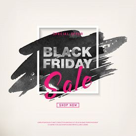 Black Friday Sale Poster With Holographic Text On Watercolor Stroke In Frame. Special Offer Promotio