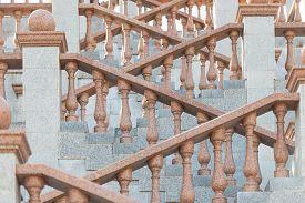 Grand Stone Stairs Leading To Church In Vitebsk, Belarus , Europe.