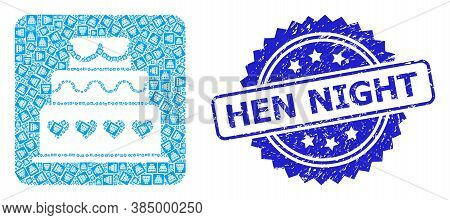 Hen Night Unclean Stamp Seal And Vector Recursive Collage Marriage Cake. Blue Stamp Includes Hen Nig