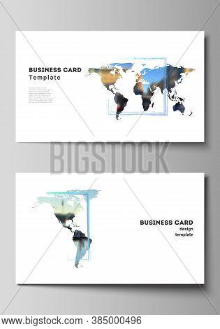 Vector Layout Of Two Creative Business Cards Design Templates, Horizontal Template Vector Design. De