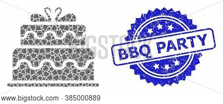 Bbq Party Rubber Stamp Seal And Vector Recursive Mosaic Marriage Cake. Blue Stamp Seal Includes Bbq
