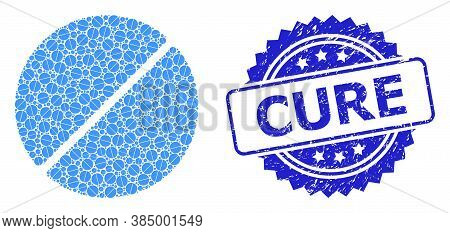 Cure Textured Stamp Seal And Vector Recursive Mosaic Medication Tablet. Blue Stamp Has Cure Caption