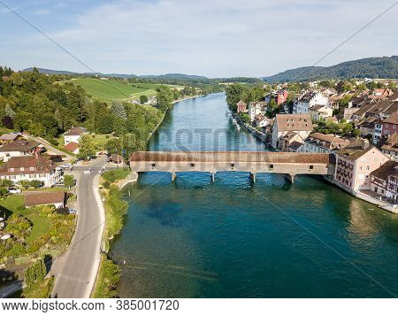 Aerial Image The Old Wooden Covered Bridge Over The Rhine River, Which Connects The Swiss Old Town D