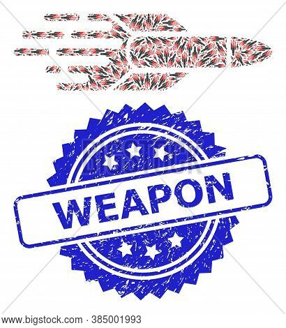 Weapon Scratched Seal Imitation And Vector Fractal Collage Missile. Blue Seal Includes Weapon Captio