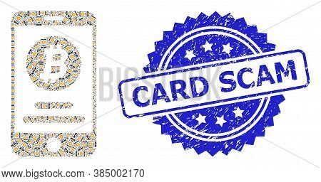 Card Scam Rubber Seal And Vector Recursive Collage Mobile Bitcoin Account. Blue Stamp Seal Includes