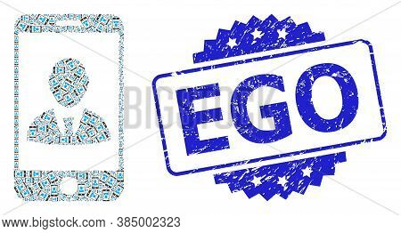 Ego Unclean Stamp Seal And Vector Fractal Composition Mobile User Profile. Blue Stamp Seal Includes