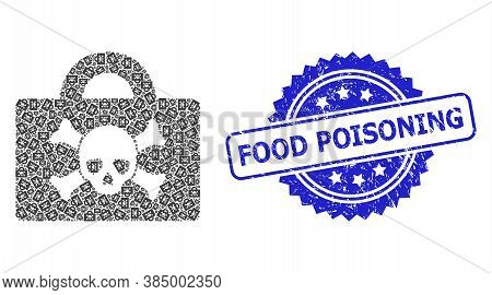 Food Poisoning Dirty Seal And Vector Fractal Collage Mortal Case. Blue Stamp Seal Includes Food Pois