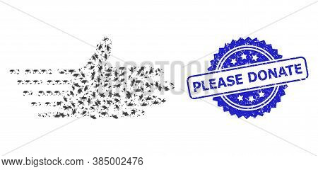 Please Donate Rubber Seal And Vector Recursive Mosaic Moving Hand. Blue Seal Contains Please Donate