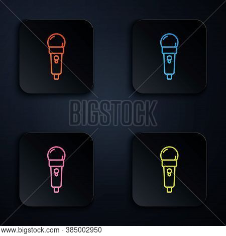 Color Neon Line Microphone Icon Isolated On Black Background. On Air Radio Mic Microphone. Speaker S