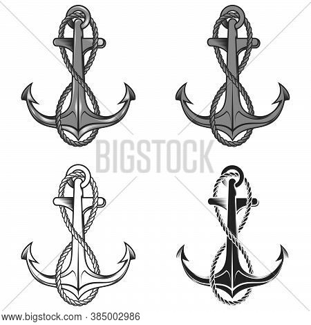 Vector Illustration Of Anchor Boat With Rope, On White Background