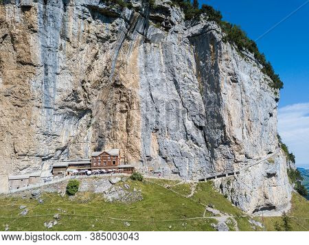 Ebenalp, Switzerland - August 09, 2019 : Aerial View Of The Guest House Aescher - Wildkirchli Agains
