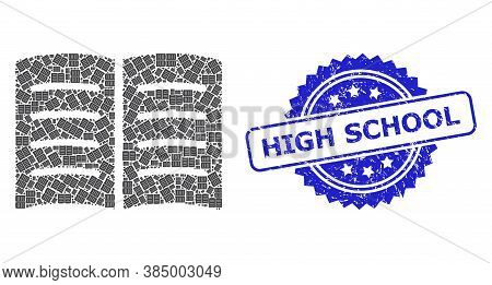 High School Scratched Seal Print And Vector Recursion Collage Open Book. Blue Stamp Seal Includes Hi