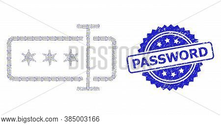 Password Rubber Seal Print And Vector Recursion Mosaic Password Field. Blue Seal Has Password Tag In