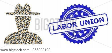 Labor Union Textured Seal Imitation And Vector Fractal Collage Peasant Persona. Blue Stamp Seal Incl